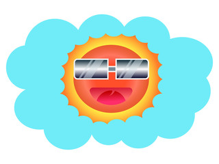 Sun Face with sunglasses and Happy Smile Illustration, Summer concept