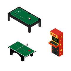 Game room concept. Arcade game machine, ping pong and pool billiard table isolated on white. Isometric