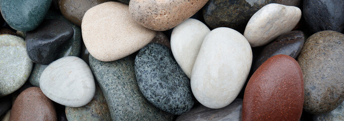Web banner abstract smooth round wet pebbles sea texture background, spa concept Wall mural