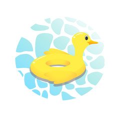 Inflatable swimming ring in shape of funny yellow duck. Floating beach toy. Illustration  summer concept
