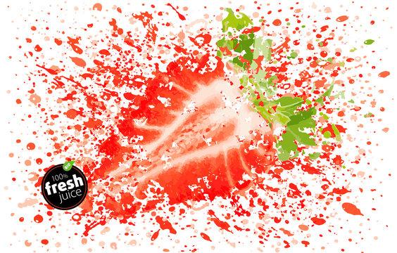 Strawberry juice splash. Half of fresh berry and splashes. A blast of fresh fruit taste. White background, EPS Illustration