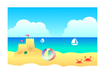 Beach sand and sky landscape background, Illustration summer concept