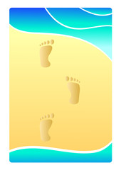 Sand of the beach with foot print, Illustration summer concept