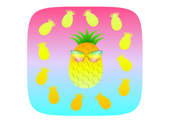 pineapple illustration summer concept