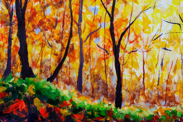 Oil painting colorful autumn trees. Autumn image of forest, aspen trees with yellow - red leaf. Autumn, Fall season nature background. Hand Painted Impressionism landscape artwork illustration