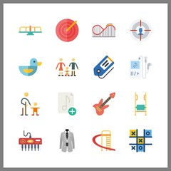 16 play icon. Vector illustration play set. target and tic tac toe icons for play works