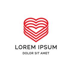 love stuck line logo template