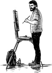 Sketch of an artist at work outdoors
