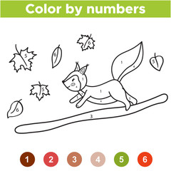 Numbers coloring page. Cute cartoon squirrel on branch. Educational game for preschool kids. Autumn leaf. Woodland animals. Vector illustration.