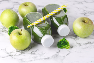 Healthy Detox Green Smoothie with Green Apples and Ripe Broccoli in Bottles Healthy Diet Food Drink Horizontal Toned