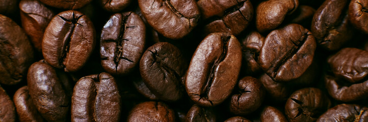 Aroma roasted coffee beans, brown banner background. Soft focus close up.
