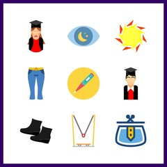 9 high icon. Vector illustration high set. shoe and thermometer icons for high works