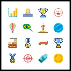 16 competition icon. Vector illustration competition set. brazil and ball icons for competition works