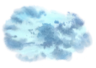Watercolor sky. Hand painted background
