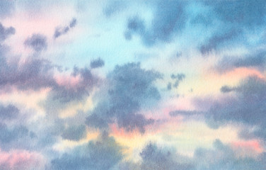Watercolor sky. Sunset. Hand painted background.