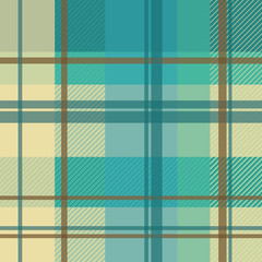 early summer plaid in cream and teal seamless pattern