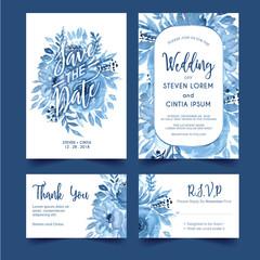 wedding invitation watercolor floral blue