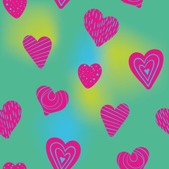 colorful doodle valentine hearts seamless pattern