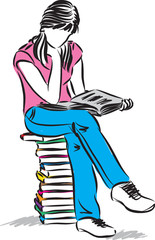 teenager girl sitting and reading book illustration
