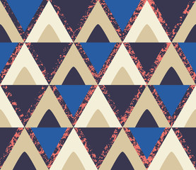 Retro triangles with coral texture seamless pattern
