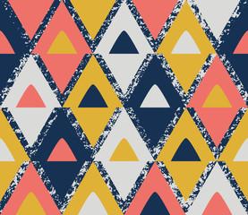 Retro cones living coral seamless pattern