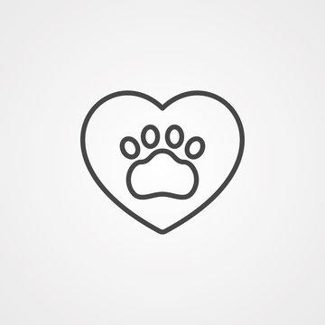 Paw print vector icon sign symbol