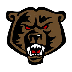 grizzly bear head with red eyes, tattoo theme, color clipart