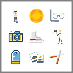 9 hobby icon. Vector illustration hobby set. tag and pruners icons for hobby works