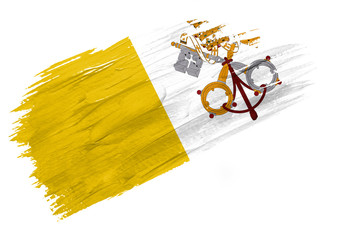 Brush painted Vatican city Holy see flag. Hand drawn style illustration