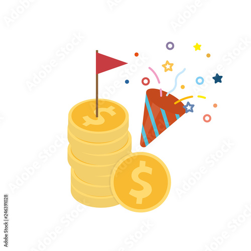 Red flag on dollar coin with confetti popper icon flat design