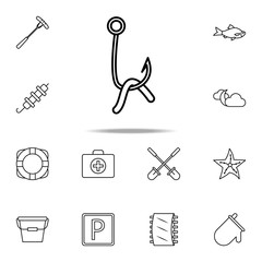 hook with a worm icon. Camping icons universal set for web and mobile