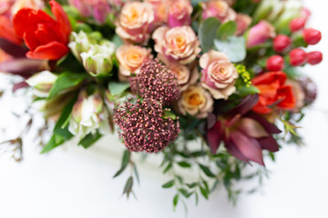 Flower arrangement of bright fresh flowers of different varieties (colors: red, pink, white, green) in a white cardboard box on a bright background