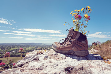 Hiking boots on a mountain trail