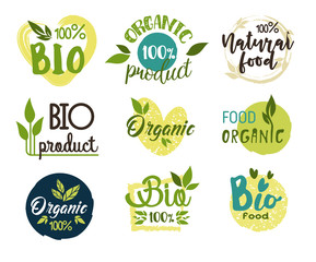 Natural and organic, eco and fresh food stickers