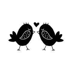 Cute cartoon hand drawn birds kissing icon. Sweet vector black and white birds kissing icon. Isolated monochrome doodle birds kissing icon on white background.