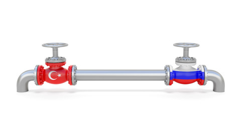 Pipe line and valves (faucets) with national flags of Russia and Turkey. Transportation or delivery of natural gas or petroleum on pipeline between supplier and importer