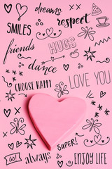 pink heart and wishes and drawings