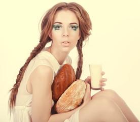 fashion model posing with bread