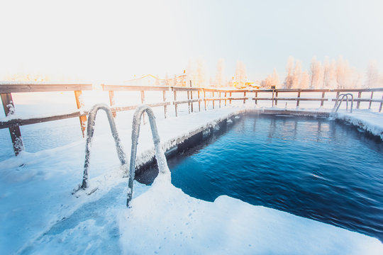 Very cold day at ice swimming place. Photo from Sotkamo, Finland.