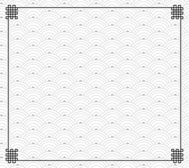 Vector Oriental Traditional Pattern, Black Frame, Endless Nodes, Black and White Monochrome Background.
