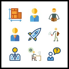 9 project icon. Vector illustration project set. user and student icons for project works