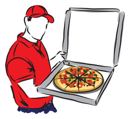 PIZZA DELIVERY MAN illustration