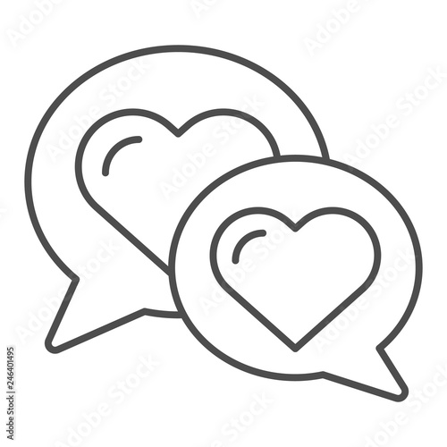 Chat for love thin line icon  Speech bubble with heart