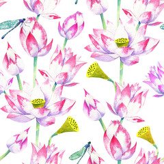 blossoms and flowers of lotus watercolor seamless pattern