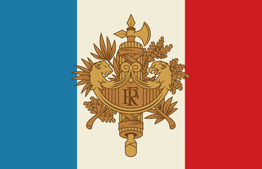 Symbol of France. National emblem. French Coat of arms and tricolour flag vector illustration