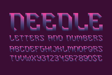 Needle letters and numbers with currency signs. Pink blue gradient font. Isolated english alphabet.