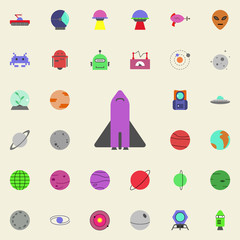 shuttle colored icon. Colored Space icons universal set for web and mobile