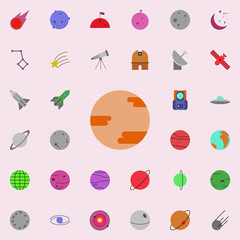 planet colored icon. Colored Space icons universal set for web and mobile