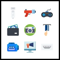 9 electronic icon. Vector illustration electronic set. photo camera and wallet icons for electronic works