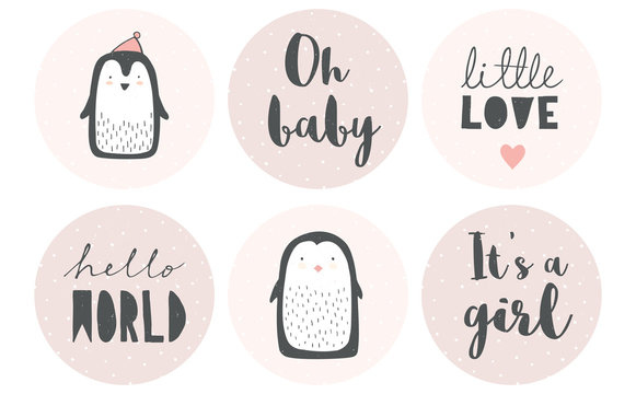 Baby Shower Candy Bar Vector Tag Set. 6 Cute Circle Shape Tags. Tiny White Dots on a  Pink Backgrounds. Gray Letters. Adorable Little Penguins. It's a Girl. Delicate Grunge Nursery Art. Pastel  Colors